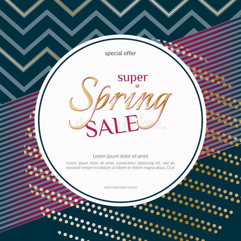 Spring sale round banner on elegant dark luxury background with golden zigzag lines specks Banner design element for discounts vector illustration