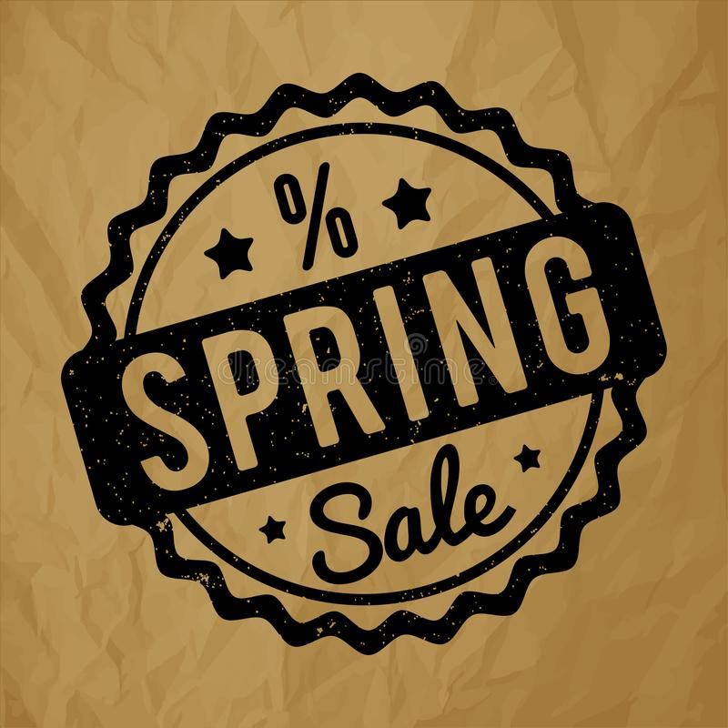 Spring Sale rubber stamp black on a crumpled paper brown background. stock illustration