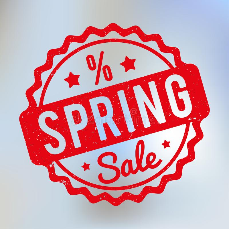Spring Sale rubber stamp red on a lila bokeh background. vector illustration