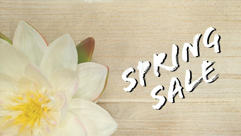 Spring sale sign. With flower spring and summer stock illustration