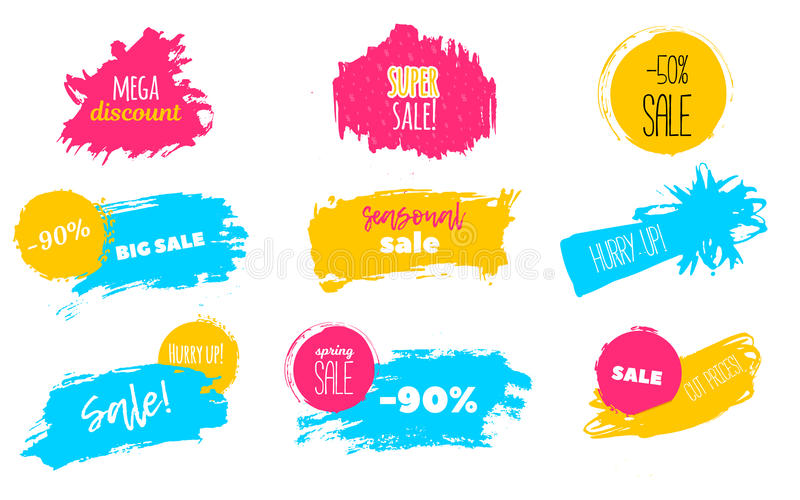 Spring Sale stains to label, discount, best price. Blots Vector set illustration in grunge style for stickers, badges. royalty free illustration