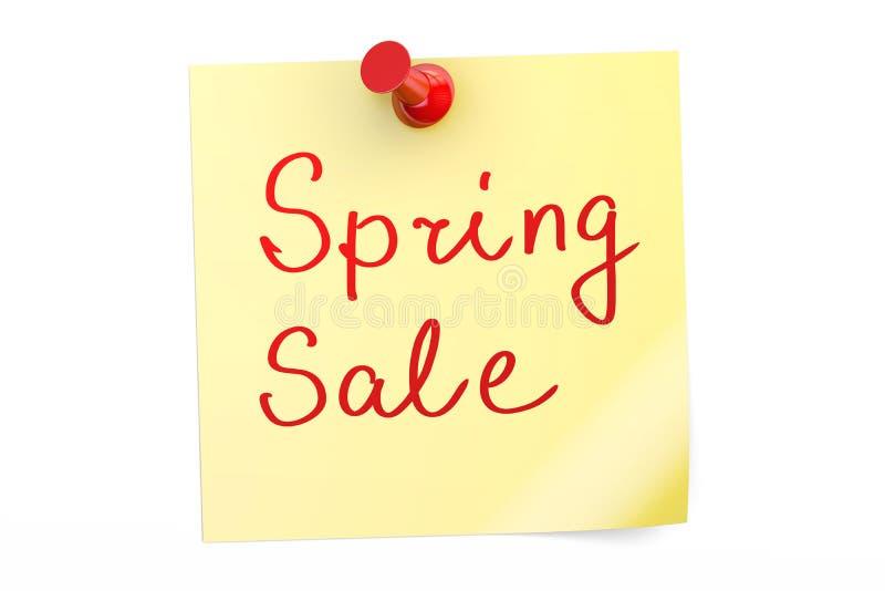 Spring Sale text on a sticky note stock illustration