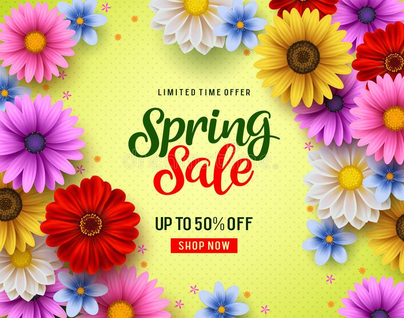Spring sale vector banner with colorful chrysanthemum and daisy flowers elements vector illustration