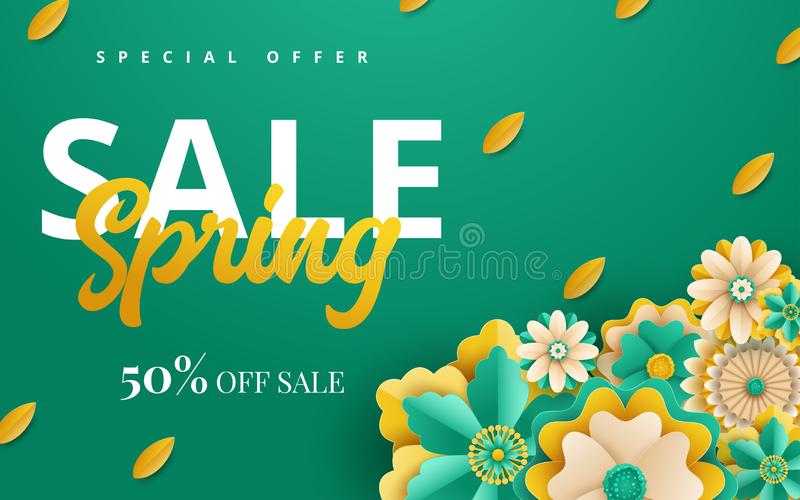 Spring sale vector banner design with flowers. Vector illustration royalty free illustration