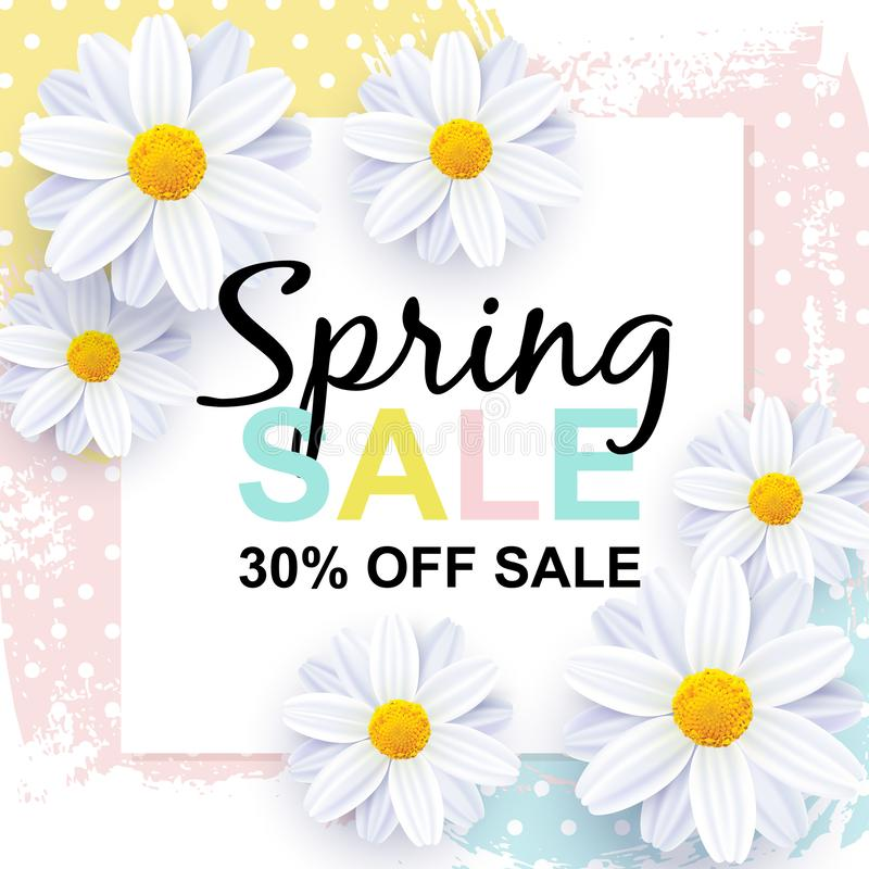 Spring Sale vector banner design template with flowers. royalty free illustration