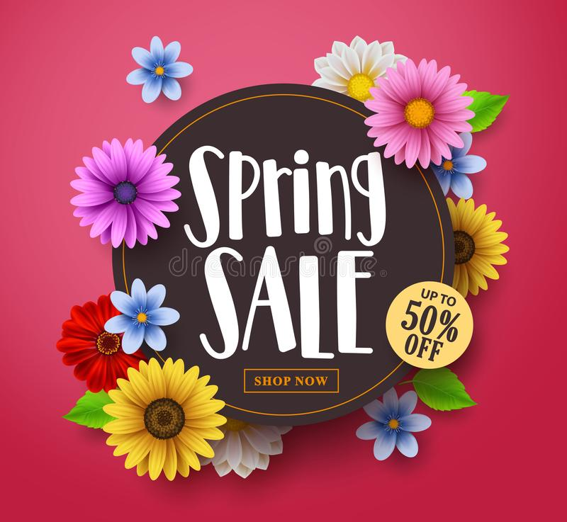 Spring sale vector banner design with sale text, colorful daisy stock illustration