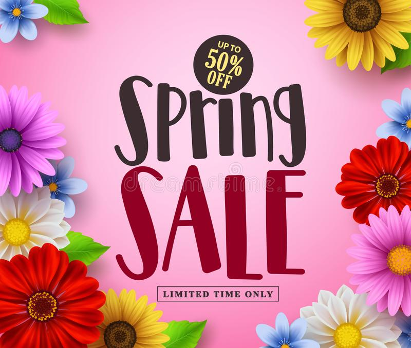 Spring sale vector banner design with text and colorful flowers like daisy vector illustration