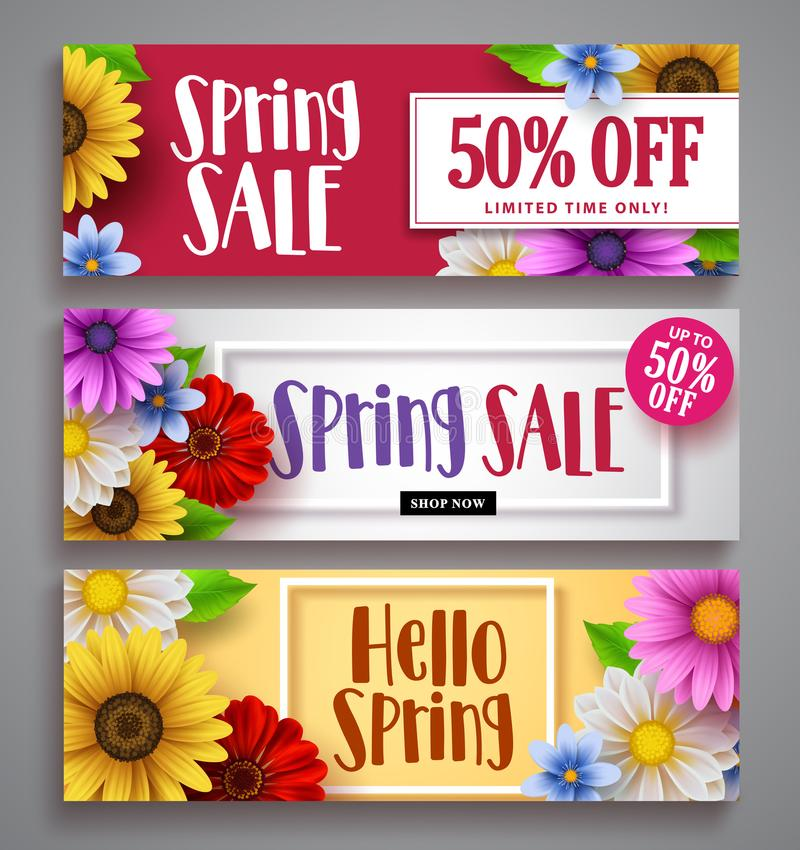 Spring sale vector banner set with colorful background templates. Frames and various daisy flowers for spring seasonal discount marketing and background stock illustration