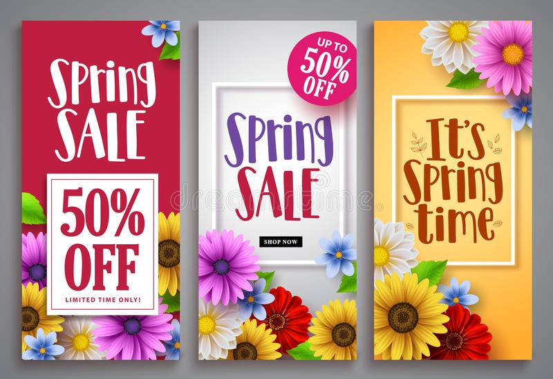 Spring sale vector poster set with colorful background templates stock illustration