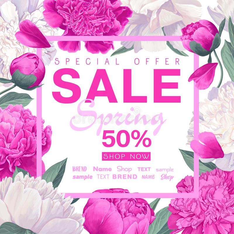 Spring sale banner with beautiful flowers. Vector illustration template. Background with peonies flowers stock illustration