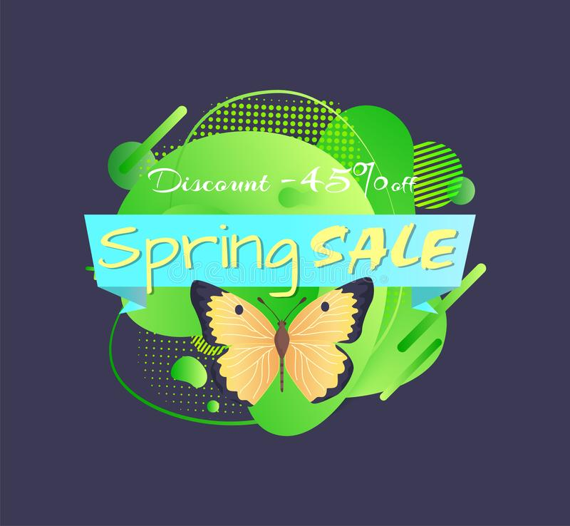 Spring Sale, Yellow Butterfly, Promo Price 45 Off vector illustration