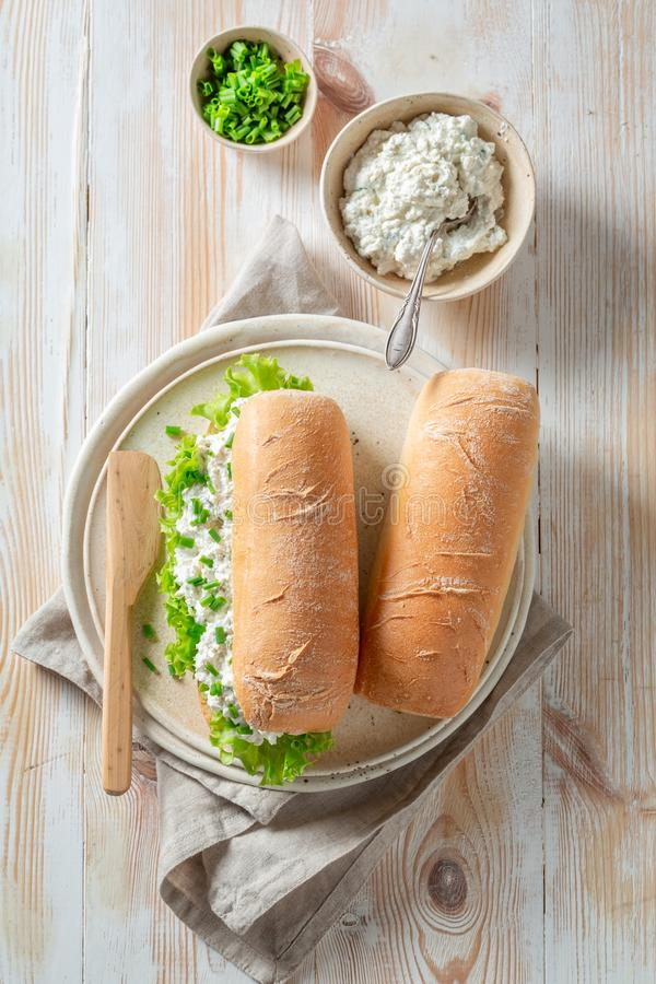 Spring sandwich with crunchy bread, fromage cheese and chive. On wooden table stock image