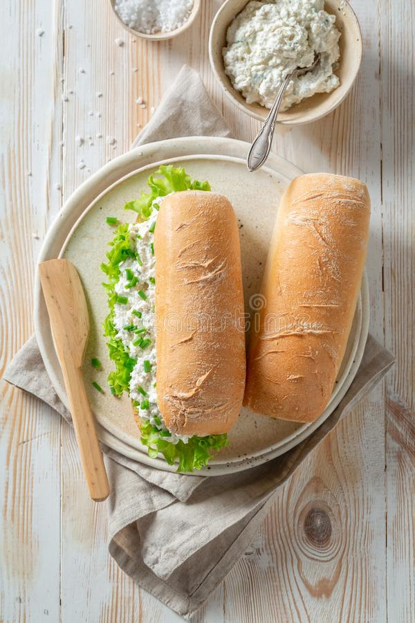 Spring sandwich with lettuce, creamy cheese and chive. On wooden table royalty free stock images