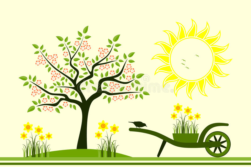 Download Spring scene stock vector. Image of decor, barrow, card - 26274443