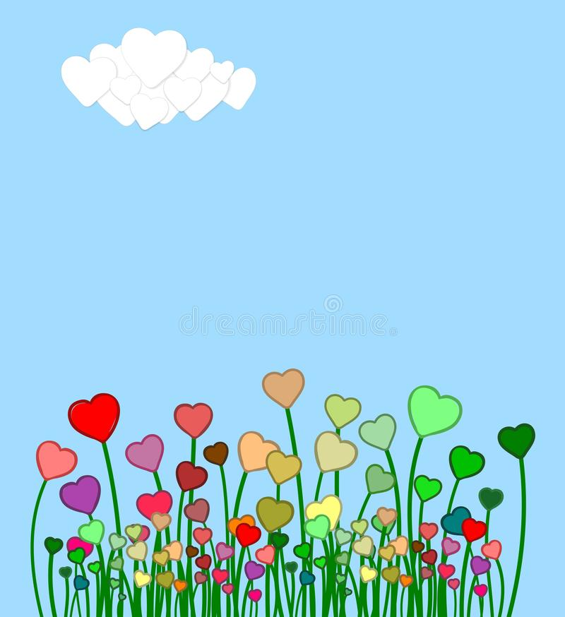 Spring scene with many colorful hearts stock image