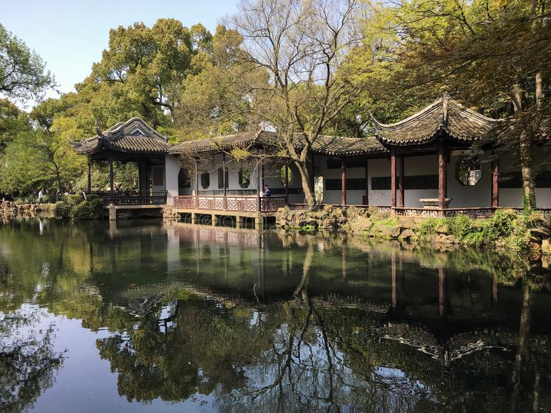 Spring scenery at ancient Chinese garden in Wuxi city royalty free stock image