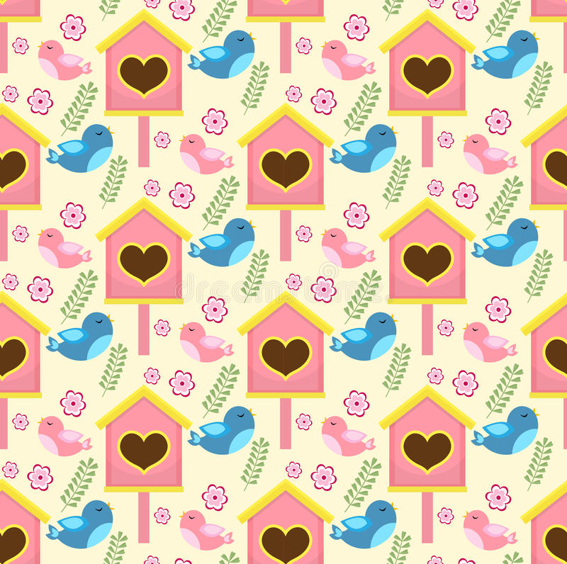 Spring seamless pattern with birds and starling house. Birdhouse endless background. royalty free illustration