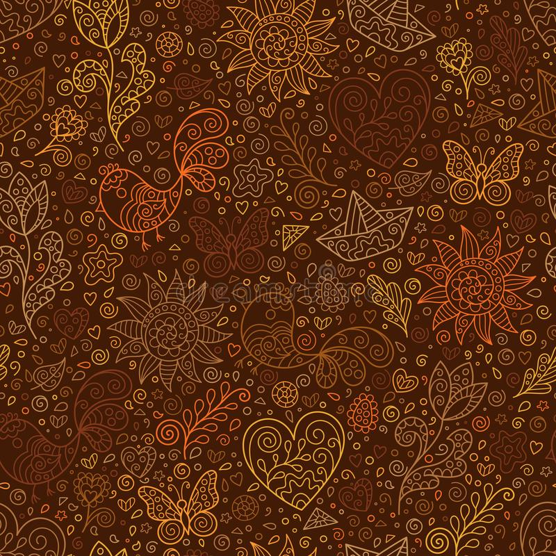 Spring Seamless Pattern with Contour Heart, Sun, Flower, Bird, Leaf, Boat on Brown Backdrop. Doodle Art royalty free illustration