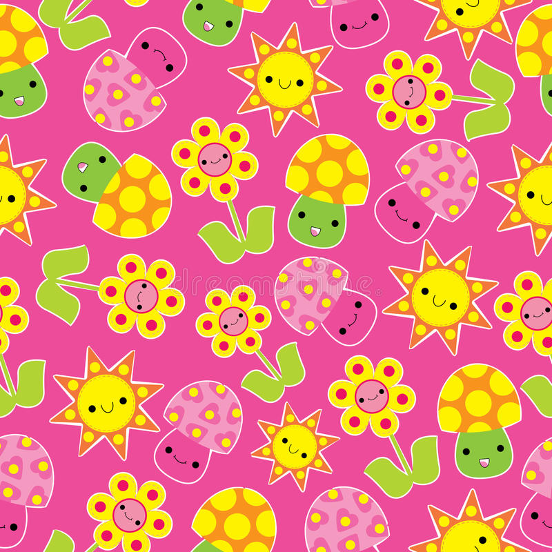 Download Spring Seamless Pattern With Cute Mushroom And Flower Cartoon Stock Vector