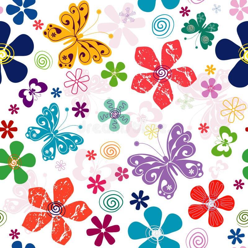 Spring seamless white floral pattern vector illustration