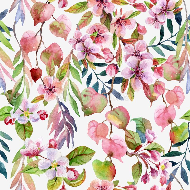 Spring season art background. Watercolor blooming flower, sakura blossom, tree branches, colorful leaves. Floral seamless pattern stock illustration