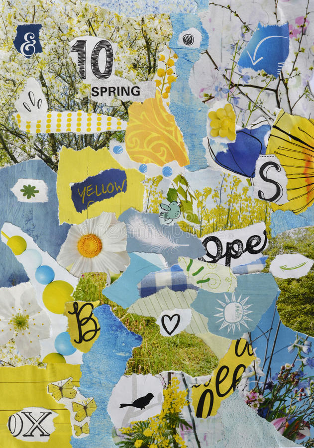 Free Spring Season Atmosphere Color Blue, Green, Yellow And Pastel Mood Board With Teared Magazines With Flowers And Twigs Royalty Free Stock Images - 63237169