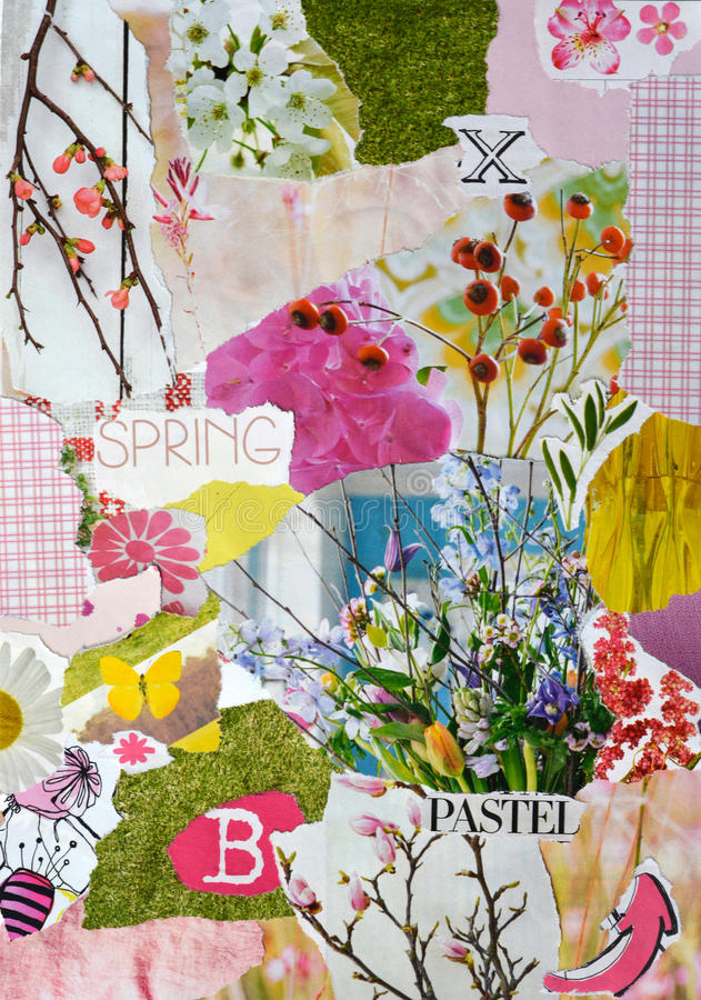Free Spring Season Atmosphere Color Blue, Pink,green, Yellow And Pastel Mood Board With Teared Magazines With Flowers And Twigs Royalty Free Stock Image - 63237196