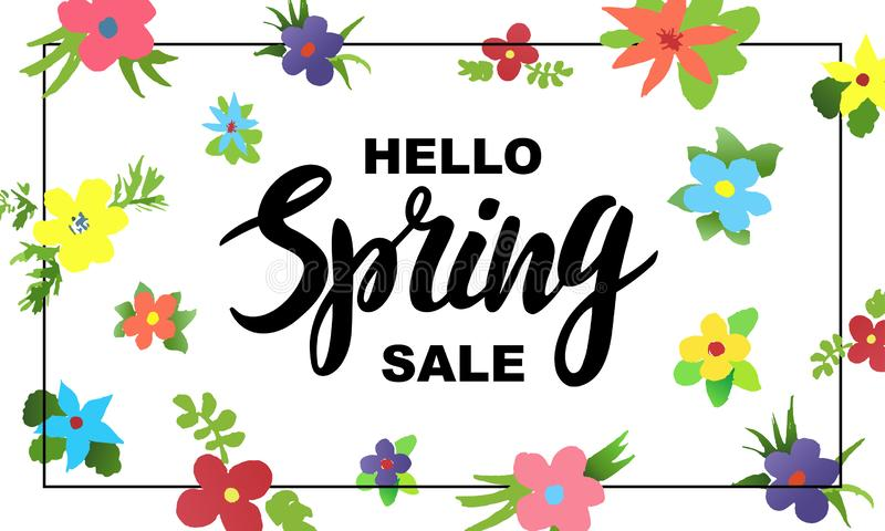 Design of banner Spring Sale Lettering with flowers royalty free illustration