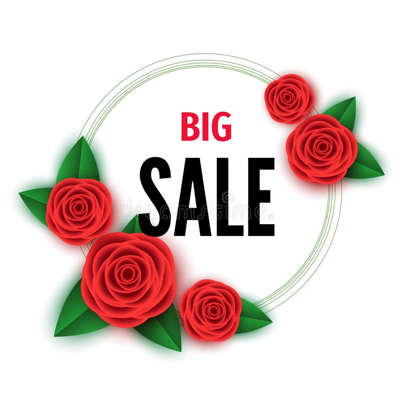 Spring  season  big sale banner with red  flowers stock illustration