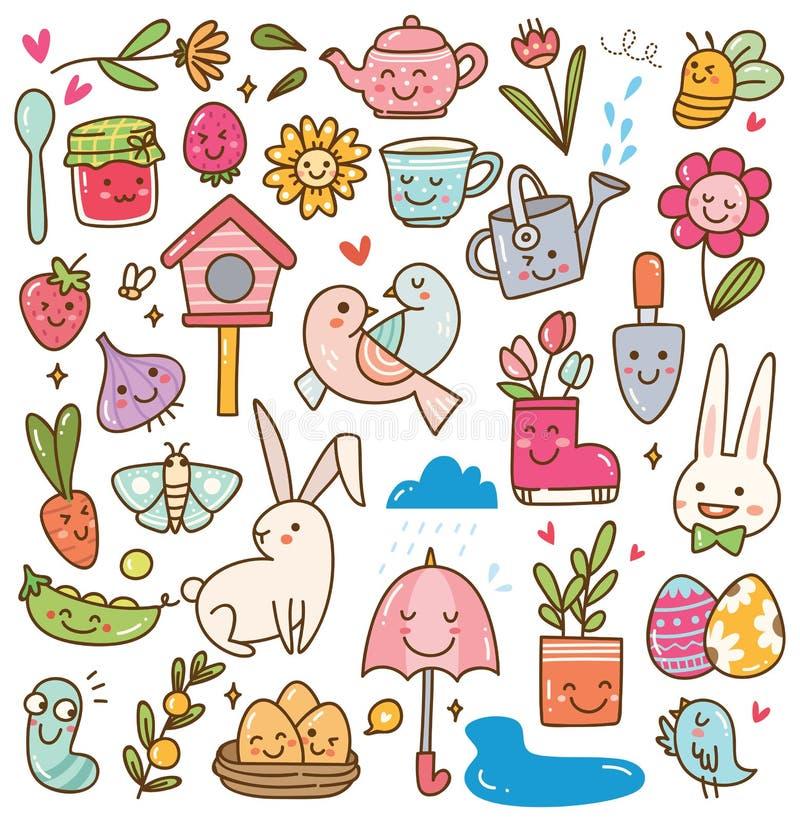Spring season kawaii doodle set stock illustration