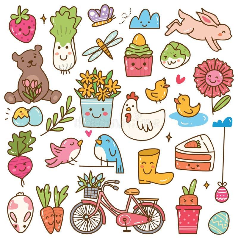 Spring season kawaii doodle set vector illustration
