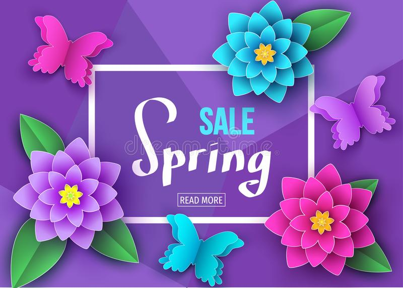 Spring season sale banner with beautiful flowers and butter royalty free illustration