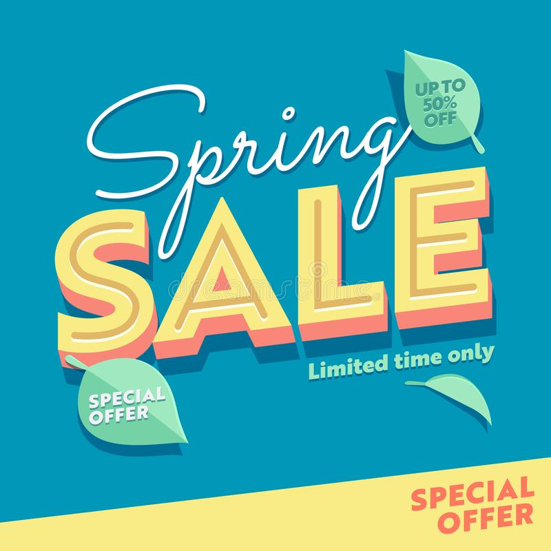 Spring Season Sale Green Floral Typography Banner Template. Promo Discount Offer Limited Price Off Poster. Super Deal. Coupon Design with Organic Leaf for royalty free illustration