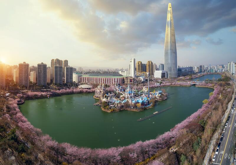 Spring season in seoul city with cherry blossom full blooming in the park stock photography