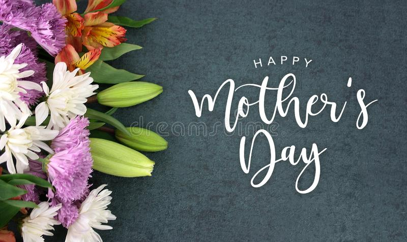 Happy Mother`s Day greeting holiday script over dark blackboard background texture vector illustration