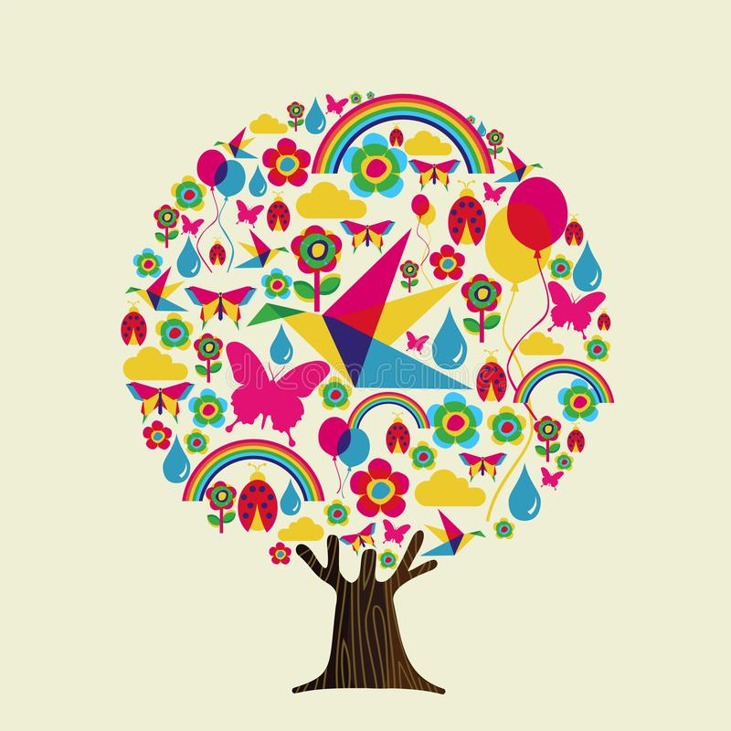 Spring season tree of colorful springtime icons vector illustration