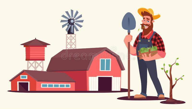 Spring seasonal work on farm flat vector illustration vector illustration