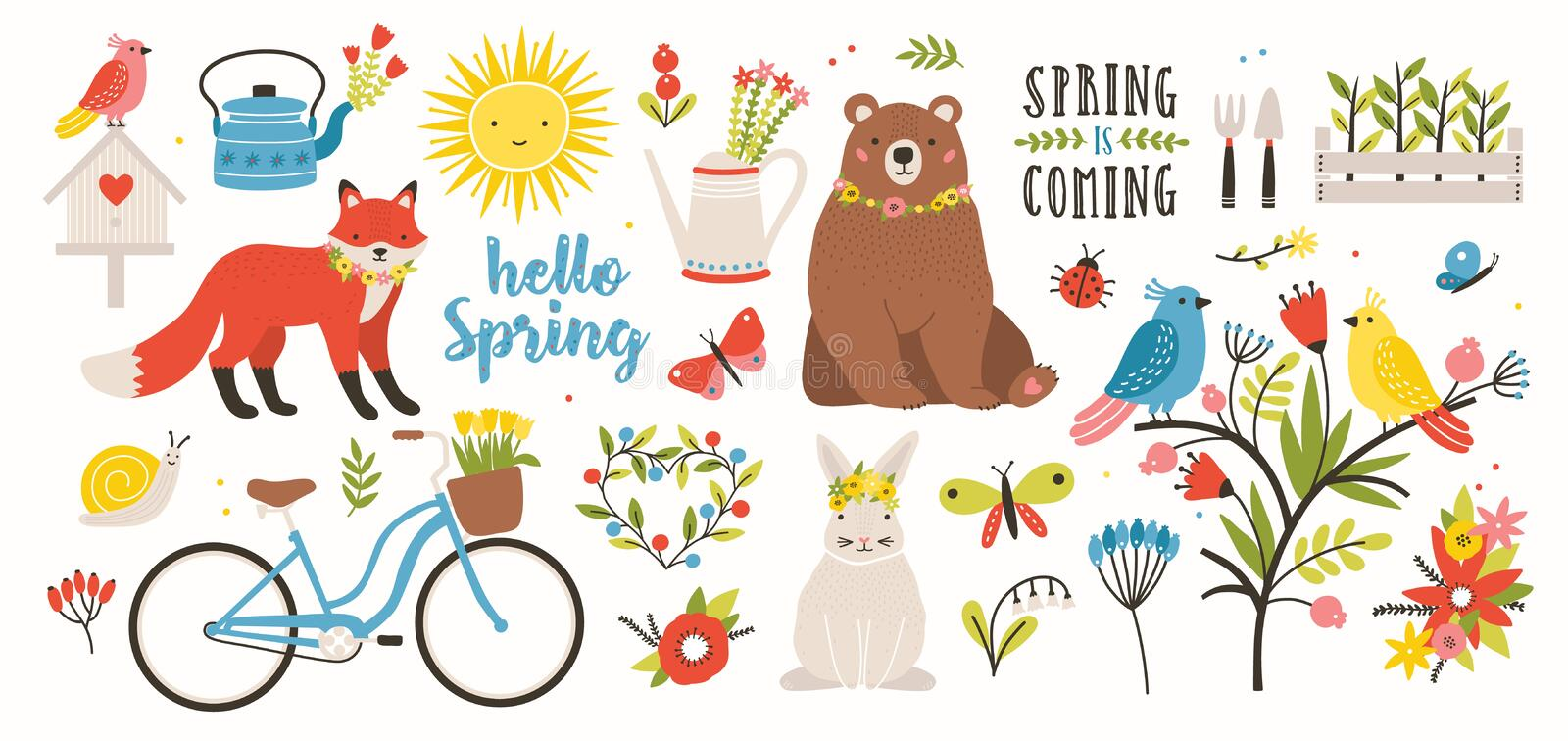 Spring set. Collection of cute animals, birds and insects, blooming flowers and floral decorations, bicycle isolated on royalty free illustration