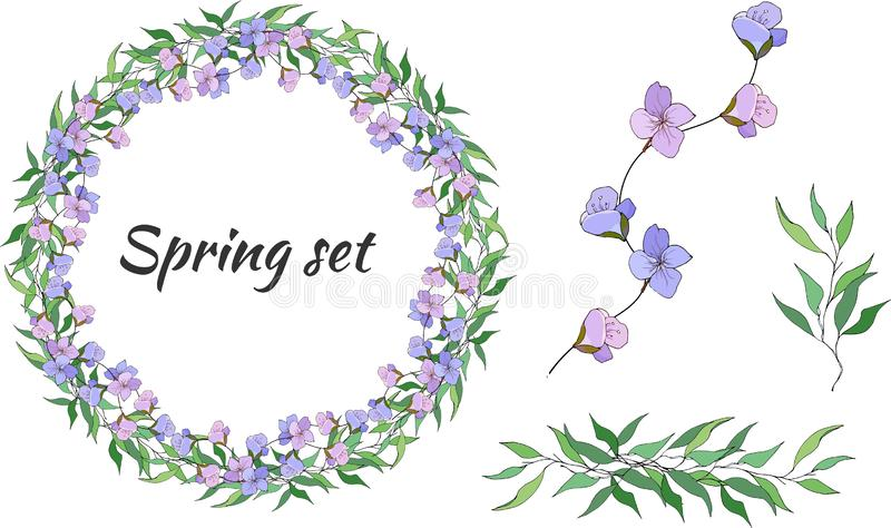 Spring set of floral patterns, ornaments and vector wreaths of delicate violet flowers and green leaves to decorate cards, royalty free illustration