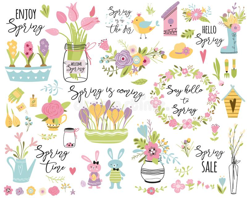 Spring set hand drawn elements flowers bird wreaths rabbit here Easter Cute vector illustration Typography spring quote vector illustration