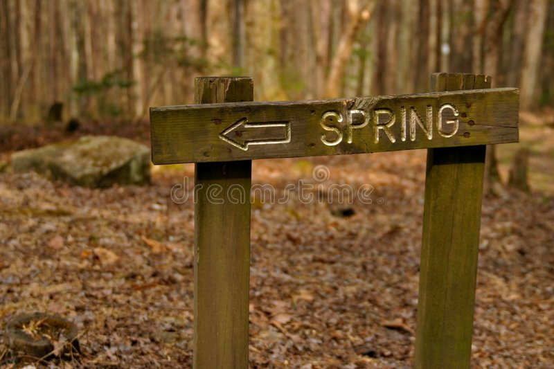 SPRING sign and arrow. Large sign bearing the word SPRING and an arrow pointing to the left edge of the frame, in the deep woods surrounded by trees and autumn stock photos