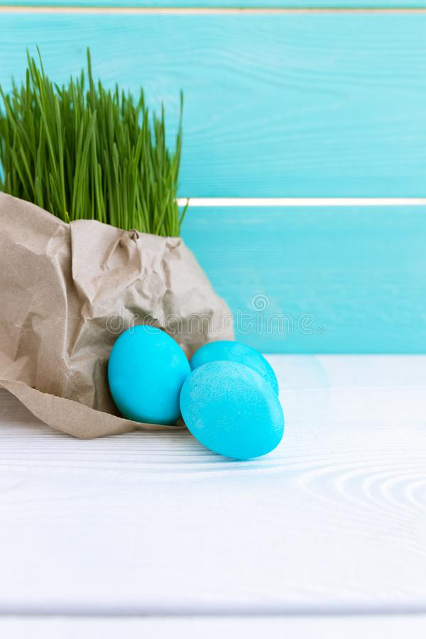 Spring Still Life with Eggs and Grass. Easter Concept. Religion. Copy Space stock image