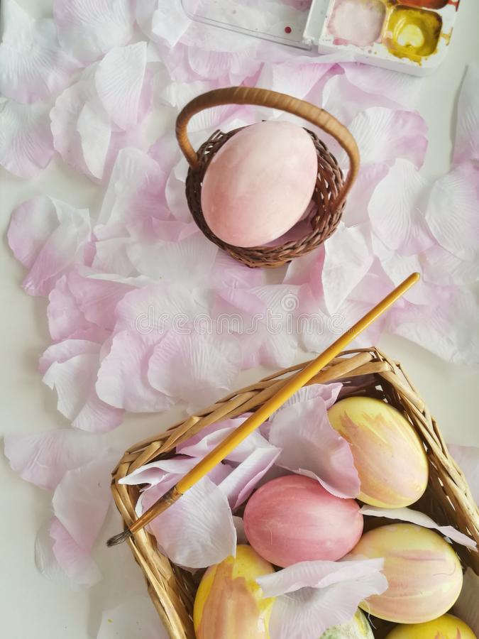Easter creative eggs. Spring stillife with hand decorating eggs royalty free stock images