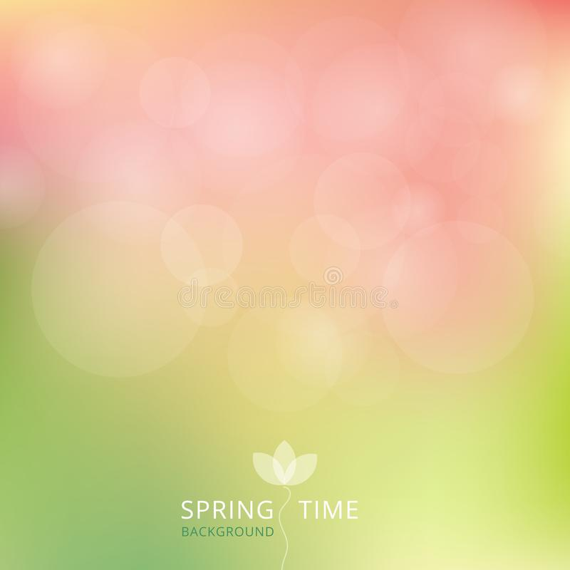 Spring summer autumn green and pink color tone with bokeh background. stock illustration