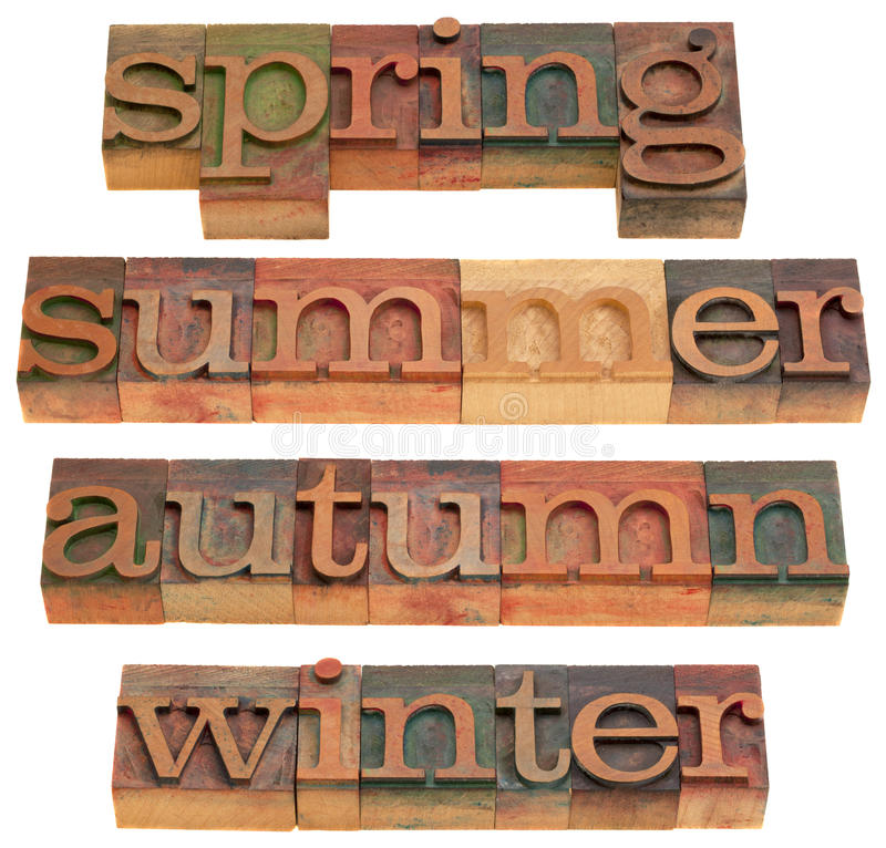 Spring, summer, autumn and winter. Four seasons (spring, summer, autumn and winter) in vintage wooden letterpress printing blocks isolated on white stock image