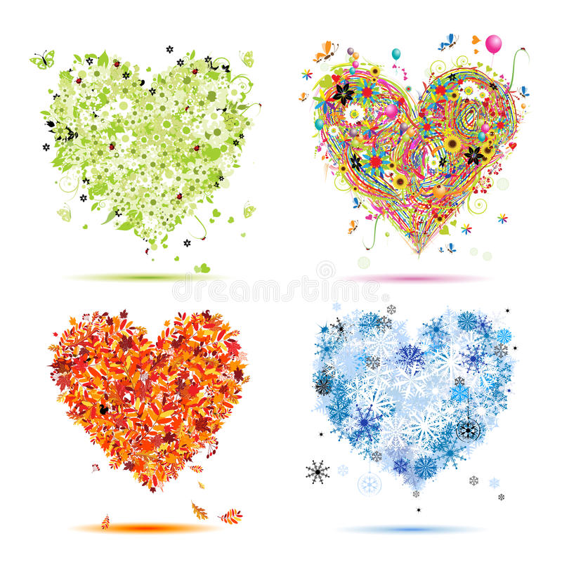 Spring, summer, autumn, winter. Art hearts royalty free illustration