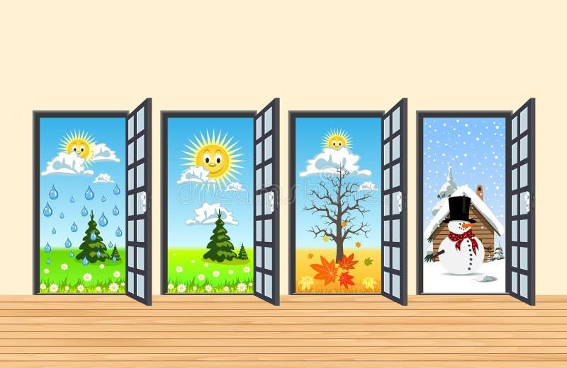 Spring Summer Autumn Winter Four Doors In Corridor Stock