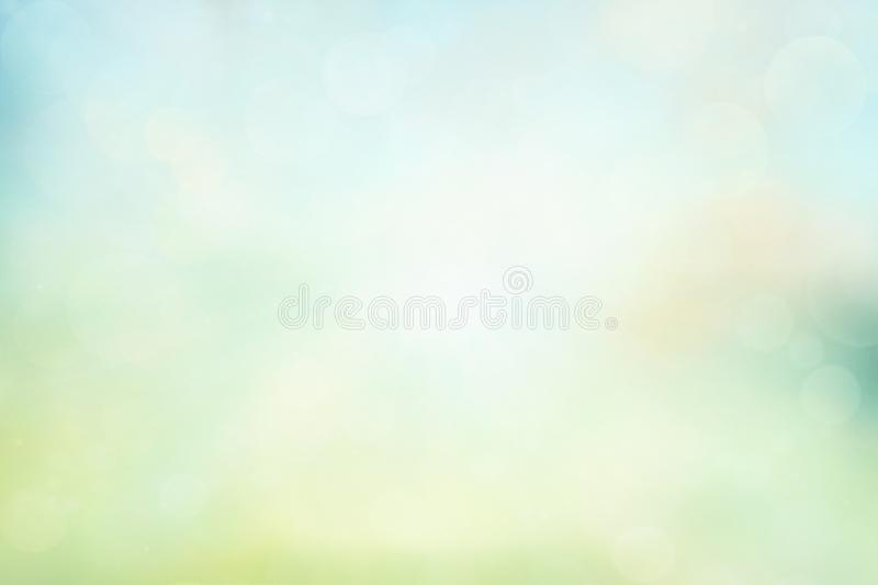 Spring or summer background. Green and yellow blurred abstract background with magic lights vector illustration