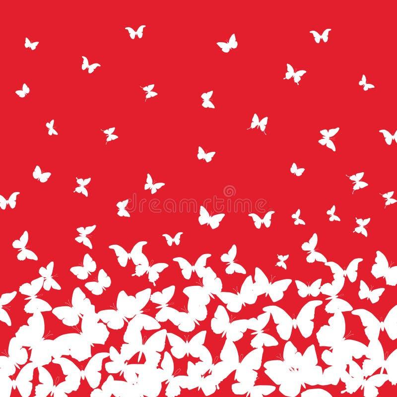 Spring summer card design. banner, white butterfly on red background. Vector. Illustration vector illustration