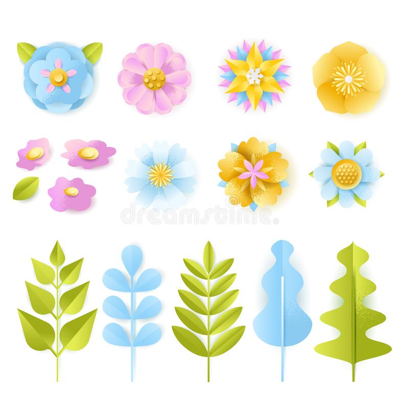 Spring, summer 3d paper cut floral design elements set. Vector craft leaves, flowers, isolated on white background vector illustration
